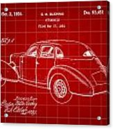 Cord Automobile Patent 1934 - Red Acrylic Print
