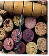 Corkscrew On Top Of Wine Corks Acrylic Print by Garry Gay