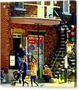 Corner Laurier Marche Maboule Depanneur Summer Stroll With Baby Carriage Montreal Street Scene Acrylic Print