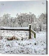 Corner Post Ice And Snow Acrylic Print