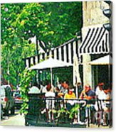 Corner Taverne Terrace French Paris Bistro Painting Sidewalk Cafe Wine Cheese Bar Montreal Cspandau  Acrylic Print