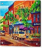 Corona Theatre Presents The Burgundy Lion Rue Notre Dame Montreal Street Scene By Carole Spandau Acrylic Print