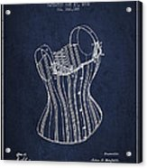 Corset Patent From 1882 - Navy Blue Acrylic Print