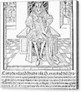 Cortes Letter, 1522 Acrylic Print