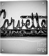 Corvette Sting Ray Emblem Acrylic Print by Paul Velgos