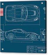 Corvette Stingray Blueplanprint Acrylic Print