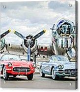 Corvettes With B17 Bomber Acrylic Print