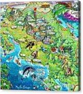 Costa Rica Map Illustration Acrylic Print