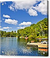 Cottages On Lake With Docks Acrylic Print
