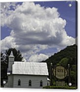 Country Church And Sign Acrylic Print