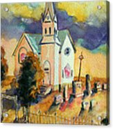 Country Church At Sunset Acrylic Print