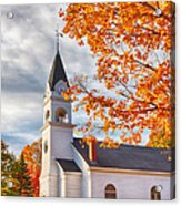 Country Church Under Fall Colors Acrylic Print