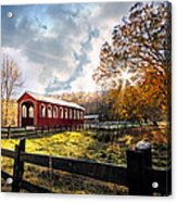 Country Covered Bridge Acrylic Print by Debra and Dave Vanderlaan
