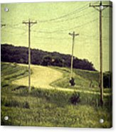 Country Dirt Road And Telephone Poles Acrylic Print