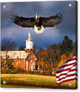 country Eagle Church Flag Patriotic Acrylic Print