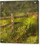 Country - Fence - County Border  Acrylic Print by Mike Savad