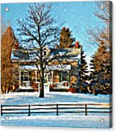 Country Home Watercolor Acrylic Print