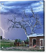 Country Horses Lightning Storm Ne Boulder County Co Hdr Acrylic Print by James BO  Insogna