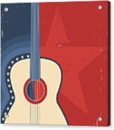 Country Music Poster With Guitar On Old Acrylic Print