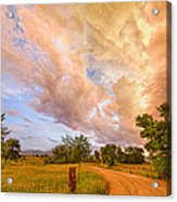 Country Road Into The Storm Front Acrylic Print