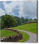 Country Road With Limestone Fence Acrylic Print