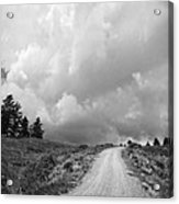 Country Road With Stormy Sky In Black And White Acrylic Print
