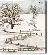 Country Snow Scene Ozaukee County Wisconsin Acrylic Print