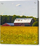 Countryside Landscape With Red Barns Acrylic Print