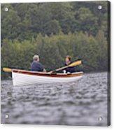 Couple Boating On Lake, Maine, Usa Acrylic Print