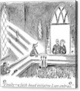 Couple Entering Church Find Bar Patrons Sitting Acrylic Print