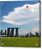 Couple Flies Kite Marina Bay Sands Singapore Acrylic Print