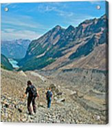 Couple Hiking On Plain Of Six Glaciers Trail  In Banff Np-albert Acrylic Print