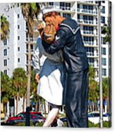 Couple Looking Up To The Famous Wwll Kiss Statue In Sarasota. Acrylic Print