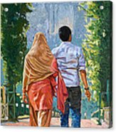 Couple Under The Leafy Arch Acrylic Print