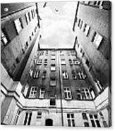Courtyard In Black And White Acrylic Print
