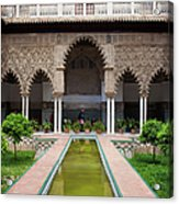 Courtyard Of The Maidens In Alcazar Palace Of Seville Acrylic Print