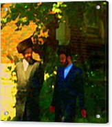 Covenant Conversation Two Men Of God Hasidic Community Montreal City Scene Rabbinical Art Carole Spa Acrylic Print
