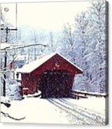 Covered Bridge In Winter Acrylic Print