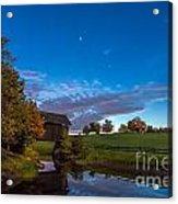 Covered Bridge Under A Vermont Sky Acrylic Print