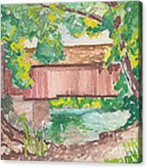 Covered Bridge Watercolor Acrylic Print by Fred Jinkins