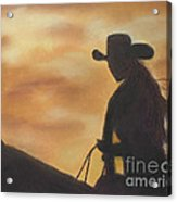 Cow Girl At Sunset Acrylic Print