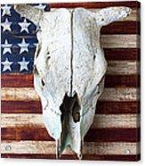 Cow Skull On Folk Art American Flag Acrylic Print by Garry Gay