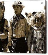Cowboy And Indian Armory Park Tucson Arizona Black And White Toned Acrylic Print