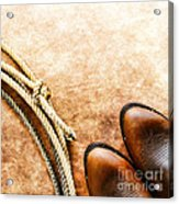 Cowboy Boots And Lasso Acrylic Print