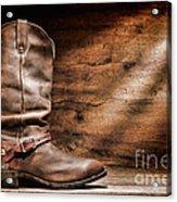 Cowboy Boots On Wood Floor Acrylic Print