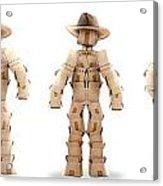 Cowboy Box Characters On White Acrylic Print