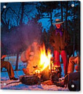 Cowboy Campfire Acrylic Print by Inge Johnsson