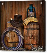 Cowboy Hat And Bronco Riding Gloves Acrylic Print by Paul Ward