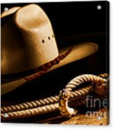Cowboy Hat And Lasso Acrylic Print by Olivier Le Queinec