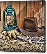 Cowboy Hat And Rodeo Lasso Acrylic Print by Paul Ward